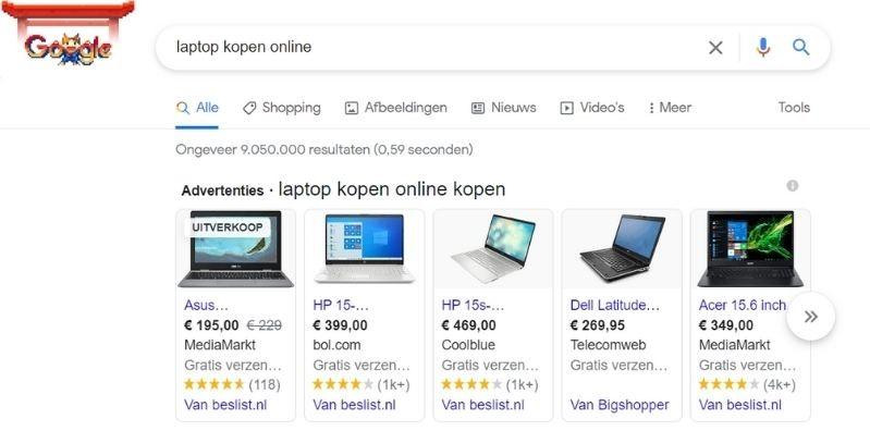 Shop advertentie Google