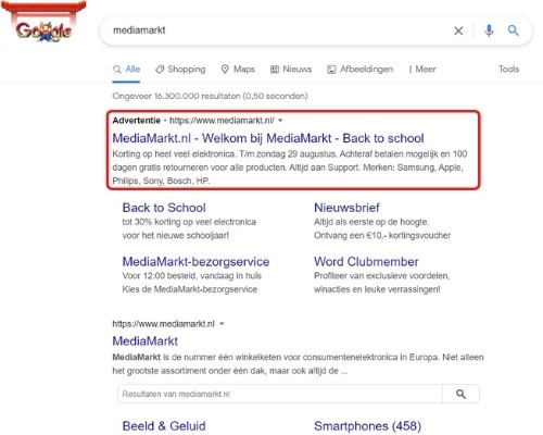 Zoek advertentie Google